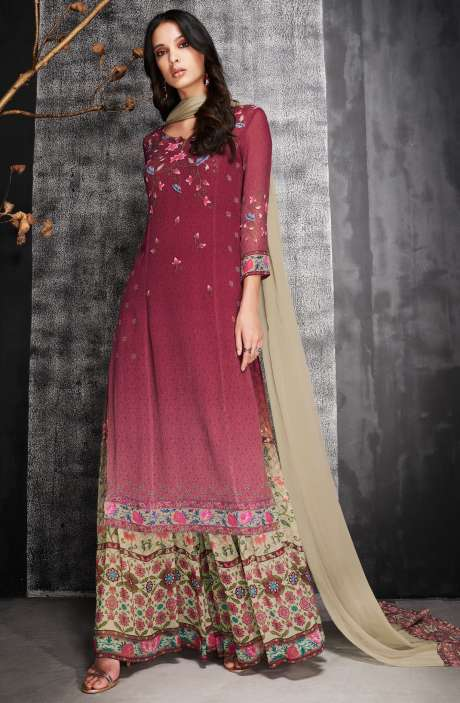 Semi-Stitched Georgette Sharara Suit Sets In Red - ABI6922