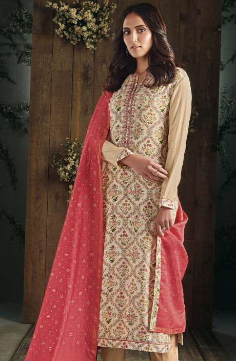 Partywear Digital Print with Gota Patti and Hand Embroidery Work Cotton Cream and Beige Salwar Kameez - ADA510