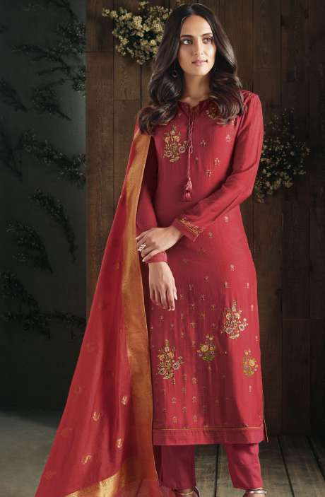 Partywear Digital Print with Hand Embroidery and Sippy Work Cotton Red Salwar Kameez - ADA518