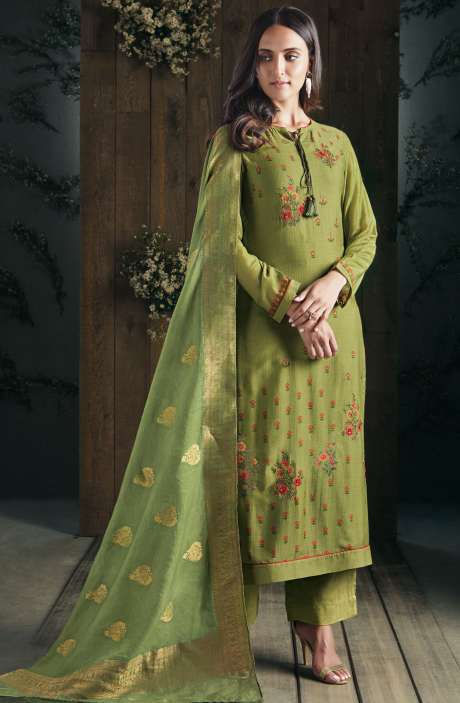 Partywear Digital Print with Zari, Hand Embroidery and Sippy Work Modal Cotton Green Salwar Suit Sets - ADA549