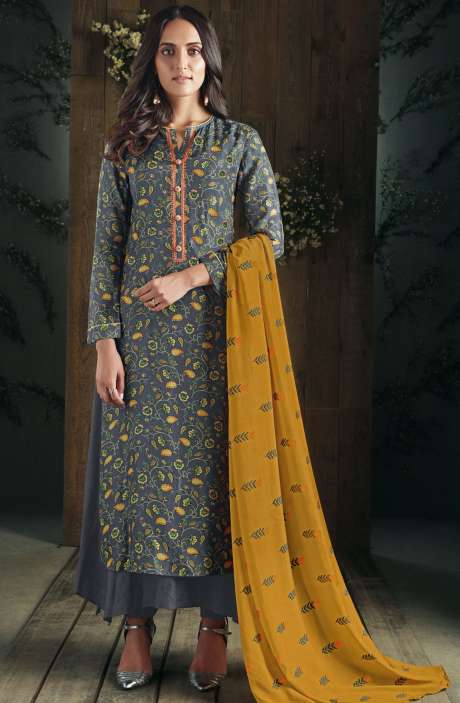 Partywear Digital Print with Hand Embroidery and Sippy Work Cotton Grey Salwar Suit Sets - ADA582