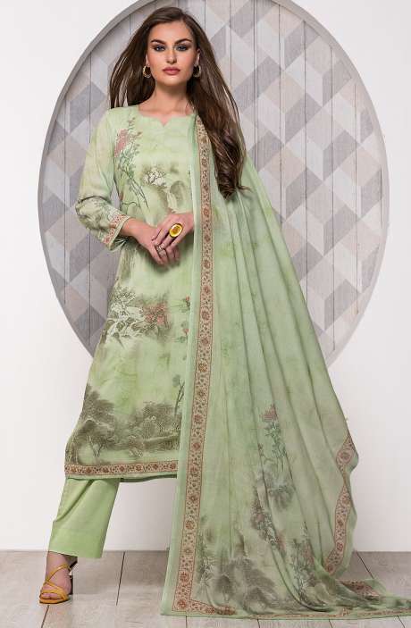 Digital Printed Unstitched Modal Cotton Salwar Suit Sets In Lime Green - ADB652