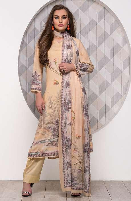 Digital Printed Unstitched Modal Cotton Salwar Suit Sets In Yellow - ADB653