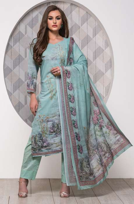 Digital Printed Unstitched Modal Cotton Salwar Suit Sets In Sea Green - ADB655