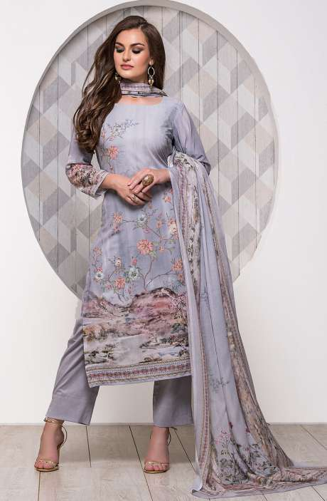 Digital Printed Unstitched Modal Cotton Salwar Suit Sets In Grey - ADB656