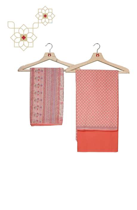 Cotton Printed Salwar Kameez In Peach - ADITIMTEB
