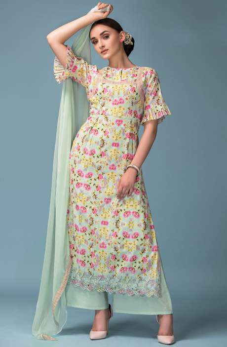 Digital Floral Print Exclusive Cotton Pale Green Salwar Suit with Cut Embroidery - ADO2214