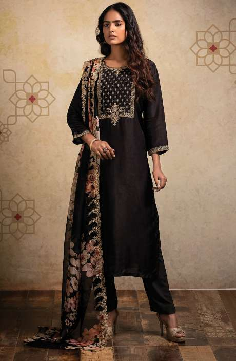 Designer Semi-stitched Russian Silk Suit Set In Black with Beautiful Organza Dupatta - AAB8514