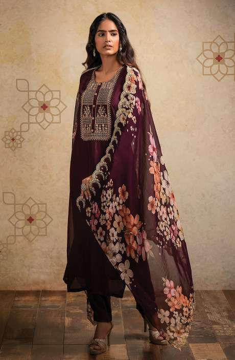 Designer Semi-stitched Russian Silk Suit Set In Wine with Beautiful Organza Dupatta - AAB8515
