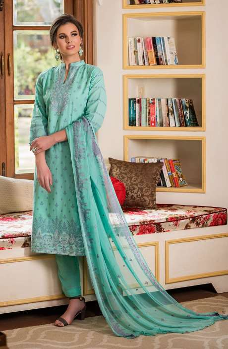 Cotton Beautiful Thread Work Unstitched Shalwar Kameez In Turquoise - AFA2612