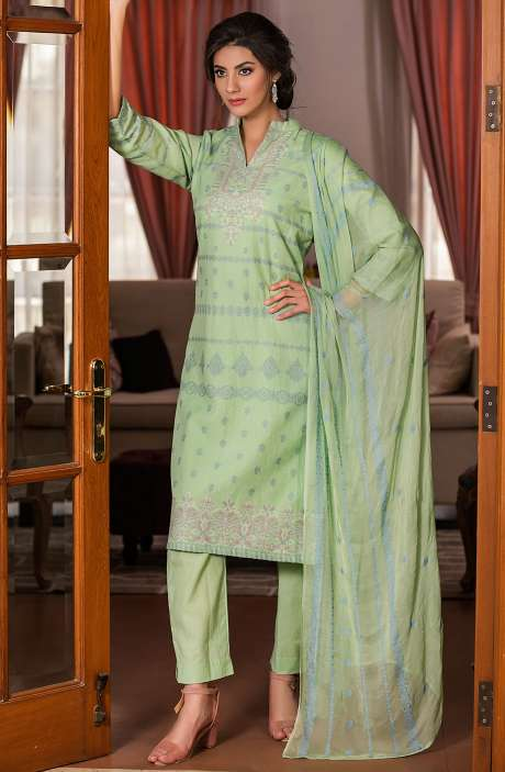 28eaacdad21 TACFAB Cotton Beautiful Thread Work Unstitched Shalwar Kameez In Green -  AFA2615