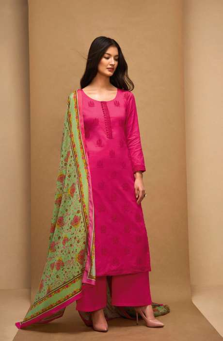 Machine Embroidery Cotton Pink Salwar Kameez - AFF5555R