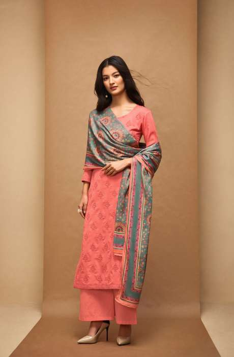 Machine Embroidery Cotton Peach Salwar Kameez - AFF5556R