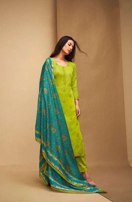 Machine Embroidery Cotton Green Salwar Kameez - AFF5557R