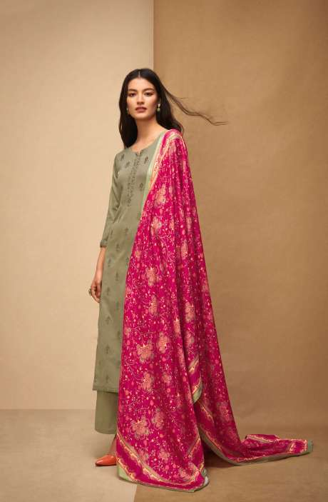 Machine Embroidery Cotton Dark Green Salwar Suit - AFF5558R