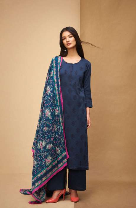 Machine Embroidery Cotton Blue Salwar Kameez - AFF5559R