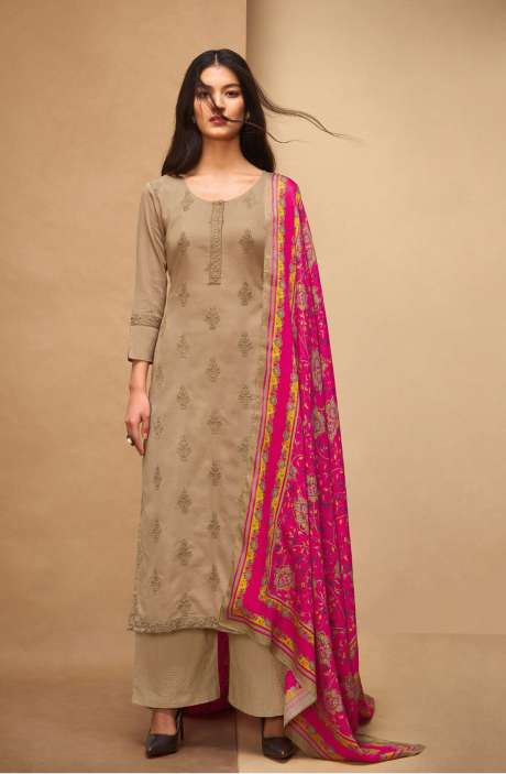 Machine Embroidery Cotton Beige Salwar Kameez - AFF5560R