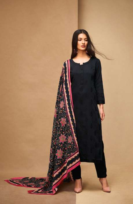 Machine Embroidery Cotton Black Salwar Kameez - AFF5562R