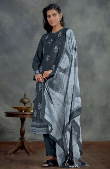 Spun Winterwear Digital Printed Salwar Kameez In Grey - AHA808