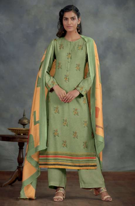 Spun Winterwear Digital Printed Salwar Kameez In Sea Green - AHA812