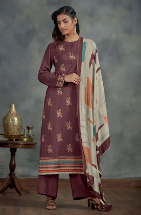 Spun Winterwear Digital Printed Salwar Kameez In Wine - AHA818