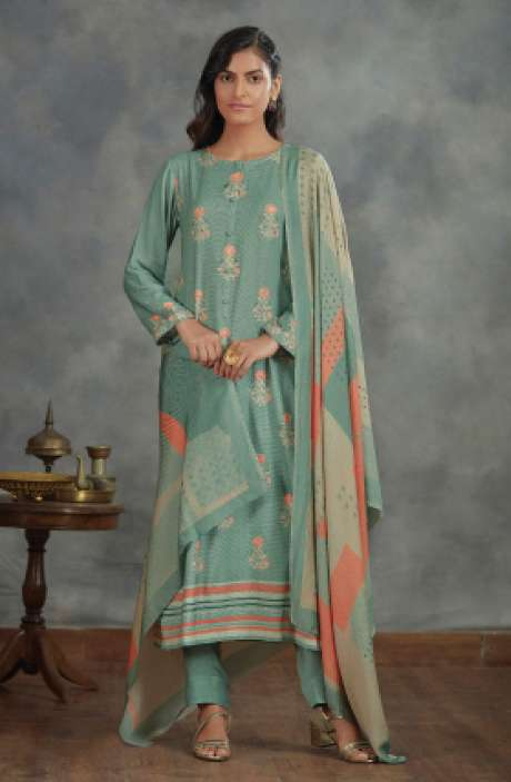 Spun Winterwear Digital Printed Salwar Kameez In Pastel Green - AHA836