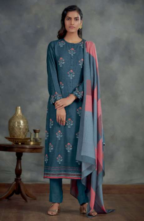 Spun Winterwear Digital Printed Salwar Kameez In Blue - AHA840