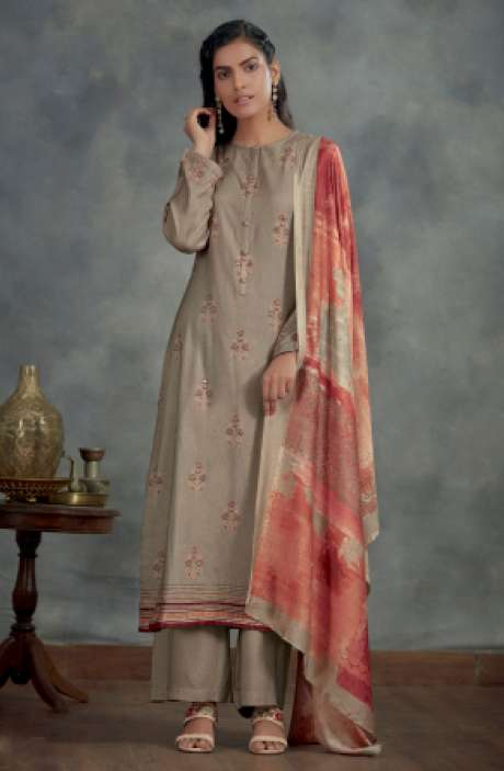 Spun Winterwear Digital Printed Salwar Kameez In Brown - AHA865