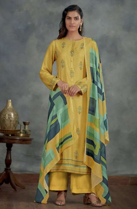 Spun Winterwear Digital Printed Salwar Kameez In Yellow - AHA872