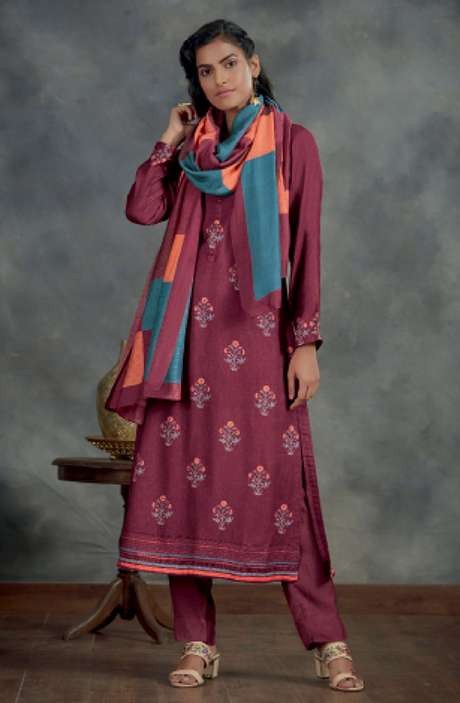 Spun Winterwear Digital Printed Salwar Kameez In Purple - AHA891