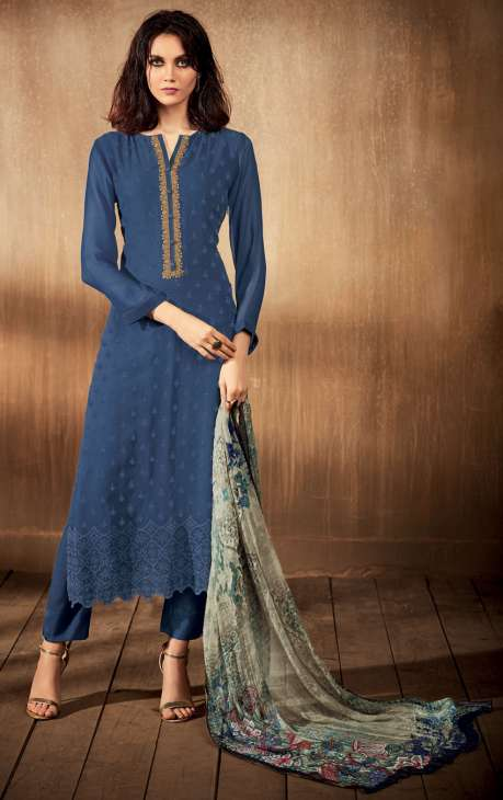 Pashmina Ready to Stitch Blue Salwar Kameez with Machine Embroidery and Cut Work - AHI09