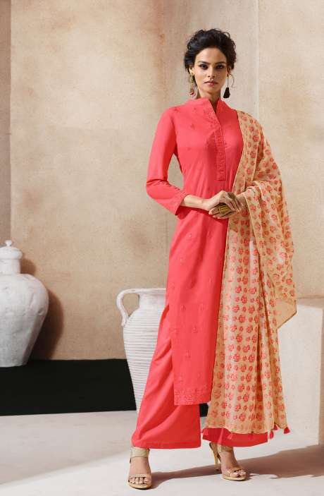 Embroidered Cotton Ready to Stitch Red Salwar Kameez Sets - AIY1761