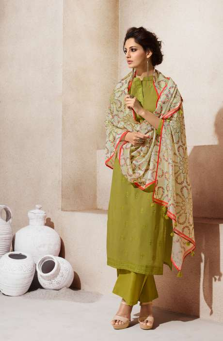 Embroidered Cotton Ready to Stitch Olive Green Salwar Kameez Sets - AIY1762