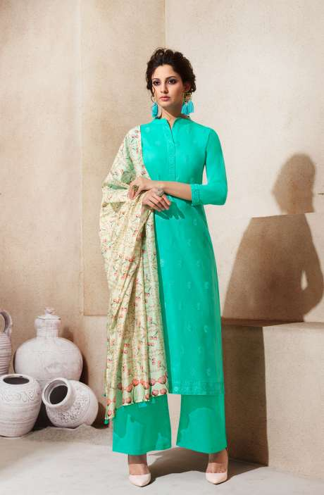 Embroidered Cotton Ready to Stitch Green Salwar Suit Sets - AIY1763