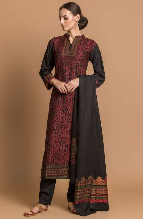 Spun Wool Weaving with Jacquard Winterwear Salwar Suit Sets In Black - AIZ1811