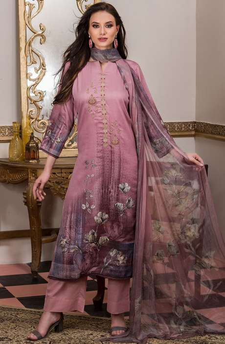 Cotton Satin Digital Printed Mauve Salwar Kameez with Fancy Embroidery - AKR1463