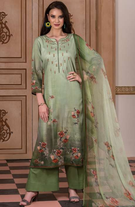 Cotton Satin Digital Printed Green Salwar Kameez with Fancy Embroidery - AKR1464