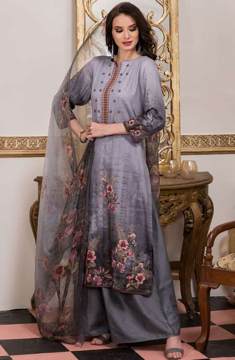 Cotton Satin Digital Printed Grey Salwar Kameez with Fancy Embroidery - AKR1465
