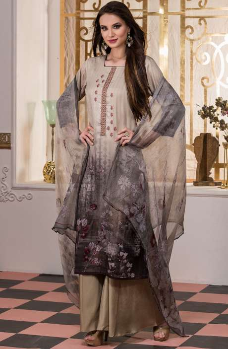 Cotton Satin Digital Printed Beige Salwar Kameez with Fancy Embroidery - AKR1466