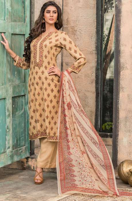 Spun Wool Digital Floral Print Exclusive Salwar Kameez In Brown - ALA1617A