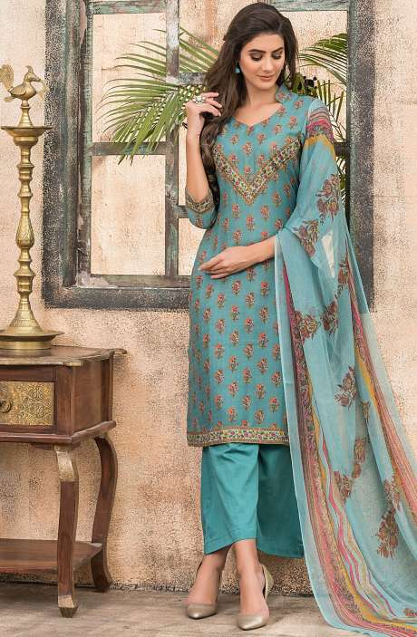 Spun Wool Digital Floral Print Exclusive Salwar Kameez In Firozi - ALA1618A