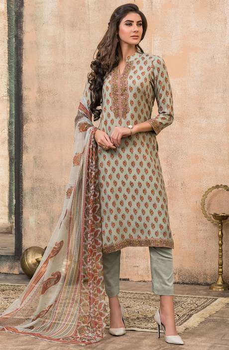 Spun Wool Digital Floral Print Exclusive Salwar Kameez In Pastel Green - ALA1620B