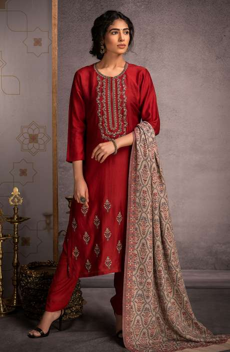 Pure Pashmina Exclusive Beautiful Salwar Kameez In Maroon - ALF8445A