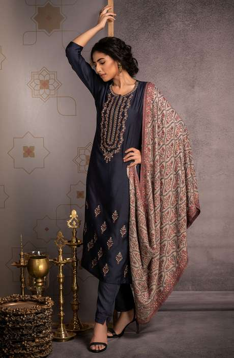 Pure Pashmina Exclusive Beautiful Salwar Kameez In Blue - ALF8445B
