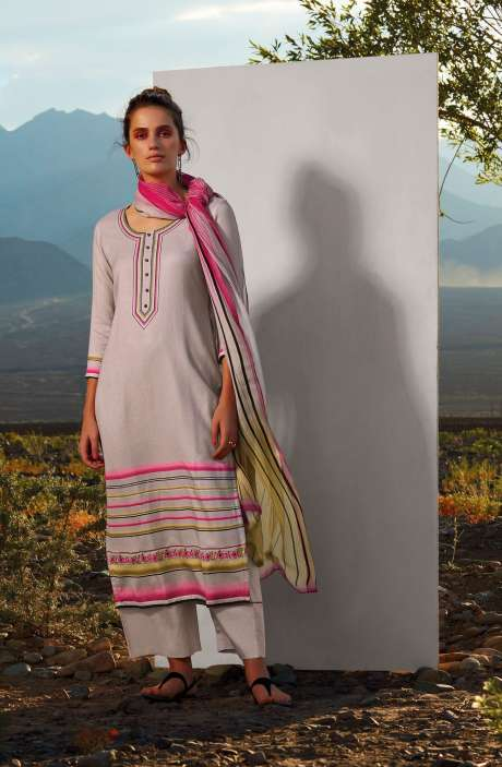 Cotton Printed Unstitched Salwar Suit In Cream with Embroidery - ALL8110