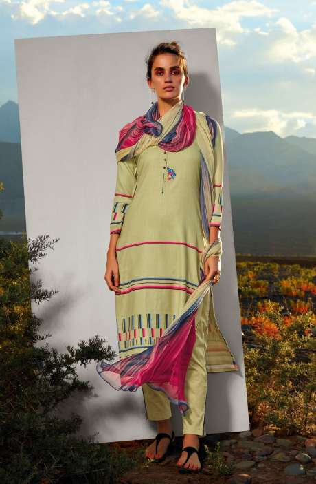 Cotton Printed Unstitched Salwar Kameez In Lime Green with Embroidery - ALL8112