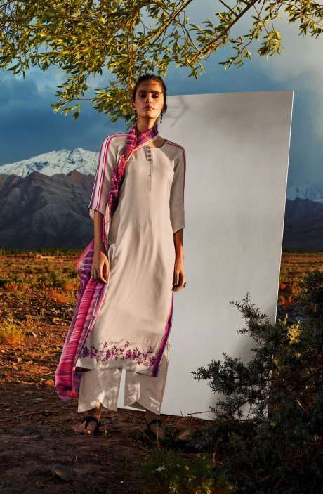 Cotton Printed Unstitched Salwar Kameez In Fawn with Embroidery - ALL8113