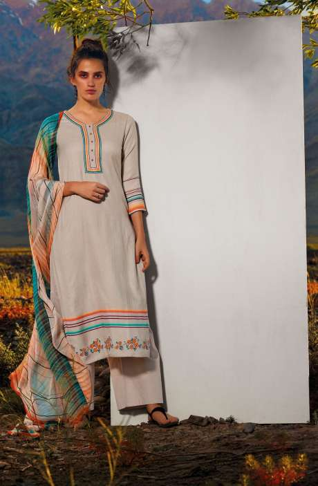 Pashmina Dobby Printed Unstitched Salwar Suit In Cream with Embroidery - ALL8114