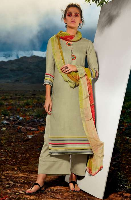 Pashmina Dobby Printed Unstitched Salwar Kameez In Green with Embroidery - ALL8115