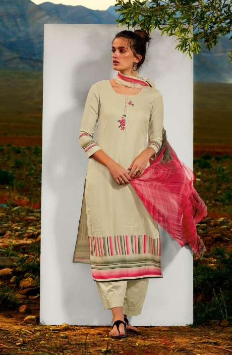 Pashmina Dobby Print Unstitched Salwar Kameez In Green with Embroidery - ALL8116